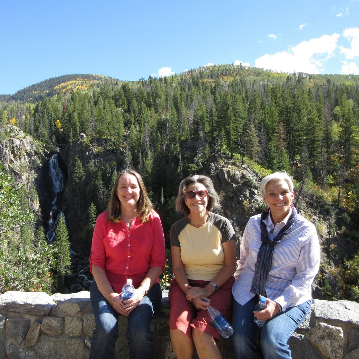Judy, Nora, Diane, waterfall